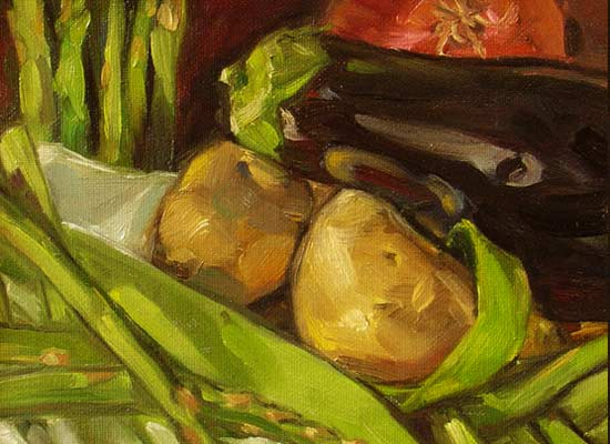 'Still life with Vegetables', 8x10 in., oil on canvas